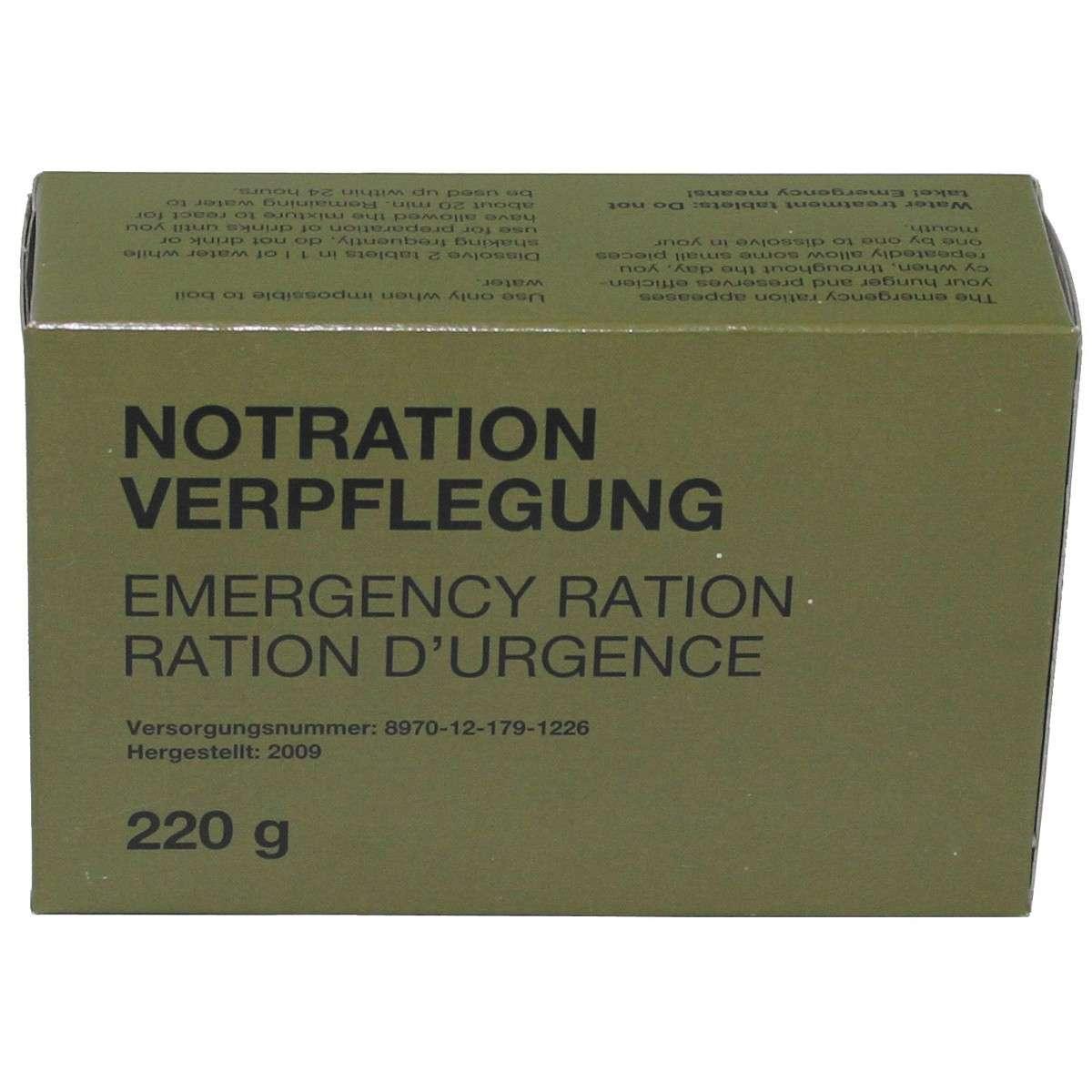 BW Notration - Verpflegung, 1 Packung 220 g, EPA, MRE, Bundeswehr ...